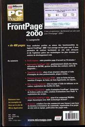 Frontpage 2000. Microsoft - 4ème de couverture - Format classique