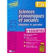 Sciences économiques et sociales ; terminale ES ; enseignement obligatoire et spécialité - Couverture - Format classique