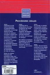 Procedures orales - 1ere ed. - 4ème de couverture - Format classique