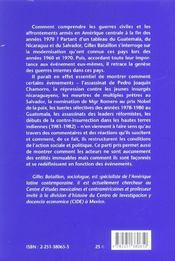 Genese des guerres internes/amer.centrale - 4ème de couverture - Format classique