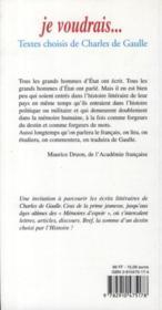 Je voudrais... textes choisis de Charles de Gaulle - 4ème de couverture - Format classique