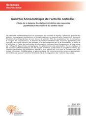 Contrôle homéostatique de l'activité corticale - 4ème de couverture - Format classique