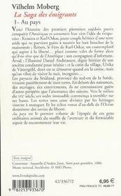 Au pays (la saga des emigrants, tome 1) - 4ème de couverture - Format classique