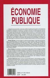 Economie Publique - 4ème de couverture - Format classique