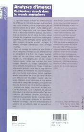 Analyses d'images patrimoines visuels dans le monde anglophone - 4ème de couverture - Format classique