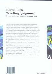 Trading Gagnant. Mettez Toutes Les Chances De Votre Cote - 4ème de couverture - Format classique