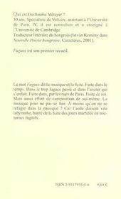Fugues ; poèmes - 4ème de couverture - Format classique