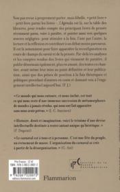 Agenda De La Pensee Contemporaine N.14 - 4ème de couverture - Format classique