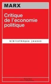Critique de l'économie politique - Couverture - Format classique