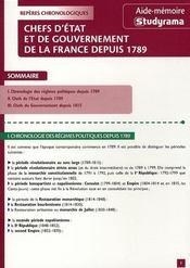 Chefs d'état et de gouvernement de la France depuis 1789 - Intérieur - Format classique