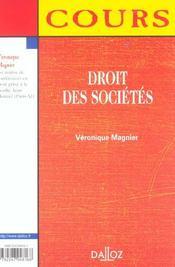Droit Des Societes ; 1e Edition - 4ème de couverture - Format classique
