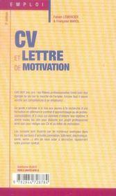 Cv et lettre de motivation spécial filières professionnelles (2e edition) - 4ème de couverture - Format classique