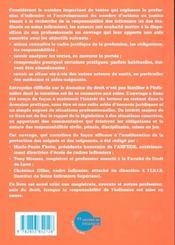 Les Obligations Et La Responsabilite Juridique De L'Infirmiere - 4ème de couverture - Format classique