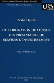 De l'obligation de conseil des prestataires de services d'investissement - Couverture - Format classique