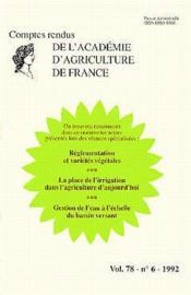 Reglementation varietes vegetales ; place de l'irrigation dans l'agriculture ; gestion de l'eau a l'echelon - Couverture - Format classique