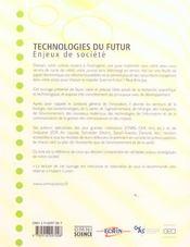 Technologies du futur. enjeux de societe - 4ème de couverture - Format classique
