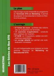 Marketing ; bac STG - 4ème de couverture - Format classique