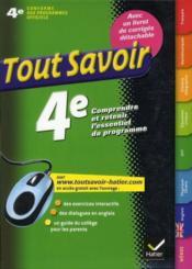 telecharger Tout Savoir – En 4eme livre PDF en ligne gratuit