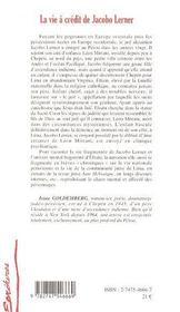 La Vie A Credit De Jacob Lerner - 4ème de couverture - Format classique