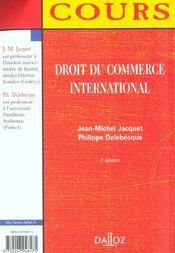 Droit Du Commerce International - 3e Ed. - 4ème de couverture - Format classique