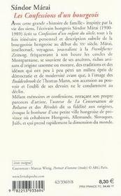 Les confessions d'un bourgeois - 4ème de couverture - Format classique