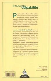Innocente Culpabilite : Entretiens Avec Paul Ricouer, Stan Rougier, Yves Leloup, Philippe Naquet - 4ème de couverture - Format classique