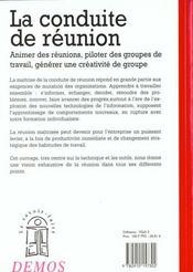 Conduite De Reunion - 4ème de couverture - Format classique