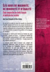 Les abus de majorité, de minorité et d'égalité ; étude comparative des droits français et américain des sociétés - 4ème de couverture - Format classique