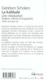 La kabbale - une introduction. origines, themes et biographies - 4ème de couverture - Format classique