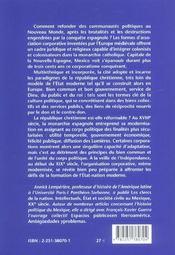 Entre dieu et le roi, la république ; Mexico, XVI-XIX siècles - 4ème de couverture - Format classique