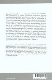 Paul Ricoeur, l'itinérance du sens - 4ème de couverture - Format classique