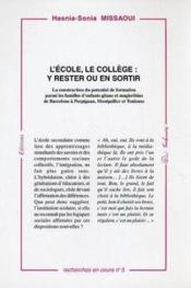 L'Ecole. Le College : Y Rester Ou En Sortir - Couverture - Format classique