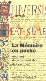 La memoire en poche guide des archives departementales des yvelines - Intérieur - Format classique