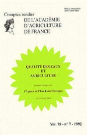 Qualite des eaux & agriculture (comptes rendus vol.78 n. 7/1992) - Couverture - Format classique