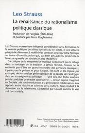 La renaissance du rationalisme politique classique - 4ème de couverture - Format classique