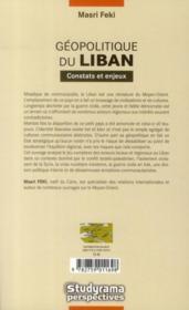 Geopolitique Du Liban ; Constats Et Enjeux (2e Edition) - 4ème de couverture - Format classique