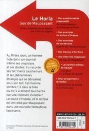 CLASSICO COLLEGE T.54 ; le horla, de Guy de Maupassant - 4ème de couverture - Format classique