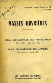 Masses Ouvrieres, Supplement Au N° 82, Jan. 1953, Table Alphabetique Des Textes Parus (1945-1952), Table Alphabetique Des Auteurs - Couverture - Format classique