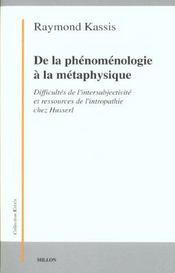 De la phenomenologie a la metaphysique - Intérieur - Format classique