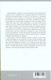 De la phenomenologie a la metaphysique - 4ème de couverture - Format classique