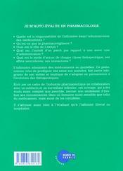Je M'Auto-Evalue En Pharmacologie - 4ème de couverture - Format classique