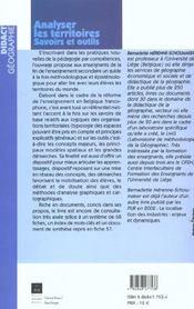 Analyser les territoires savoirs et outils - 4ème de couverture - Format classique