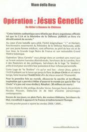Opération : Jésus genetic ; de Hitler à Rennes-le-château - 4ème de couverture - Format classique