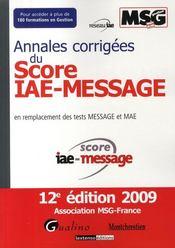 telecharger Annales corrigees du Score IAE-Message (12e edition) livre PDF/ePUB en ligne gratuit