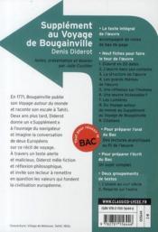CLASSICO LYCEE ; supplément au voyage de Bougainville, de Denis Diderot - 4ème de couverture - Format classique