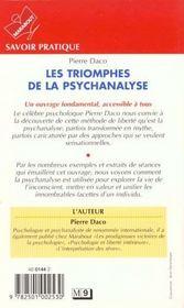 Les triomphes de la psychanalyse - 4ème de couverture - Format classique