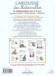 Larousse Des Maternelles ; Le Dictionnaire Des 4-6 Ans - 4ème de couverture - Format classique