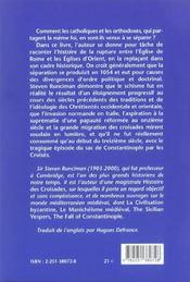 Schisme d'orient (le) - 4ème de couverture - Format classique