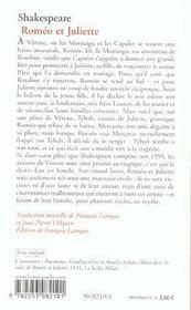 Roméo et Juliette - 4ème de couverture - Format classique