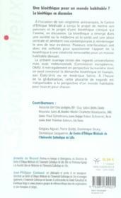 Une bioethique pour un monde habitable ? la bioethique en discussion - 4ème de couverture - Format classique